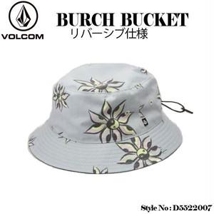 D5522007 ボルコム 新作 メンズ バケットハット 帽子 リバーシブル グレー チャコールグレー 人気 ブランド 旅行 夏 海 山 アウトドア VOLCOM BURCH BUCKET