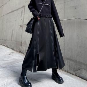 レディース ロングスカート ミモレ丈 ゴシック 個性 ハイウェスト Aライン スカート パンク 大きいサイズ 2914