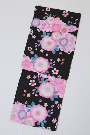 セール浴衣SALEITEM レディース浴衣 仕立て上がり 旧作 単品 黒 八重桜