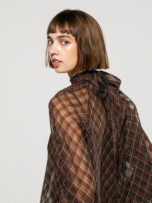 long tie checked blouse