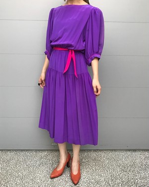 80s purple silk dress
