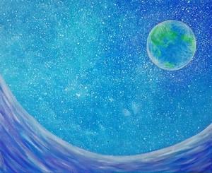 海からの地球観測の絵 アクリル画