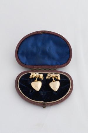 【Run Rabbit Run Vintage 】Gold ribbon & heart pierce
