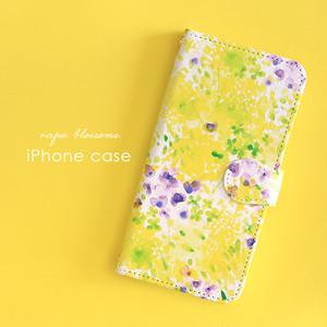 iPhone 手帳型スマホケース 【canola flower 黄色いお花畑】 iPhone5/5s/SE/6/6s/7/8/X/XS