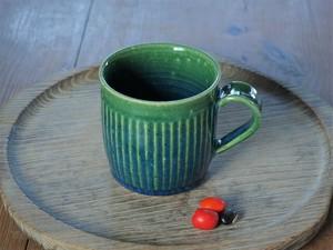 緑釉マグカップ(鎬)