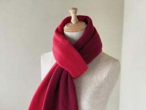 Pureカシミヤ筒編みのバイカラーマフラー Red