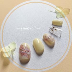 Pukeネイル [No.200]マーブル /イエローシェル花♡・♡v♡ジェイルネイルチップ