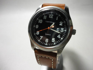 TOKYObay Watch (Black,Light brown leather)