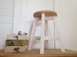 丸スツール 木製丸椅子 ナチュラルテイスト (43cm, 薄塗りホワイト×アンティークパイン)