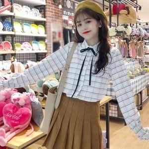 【トップス】魅力スウィート韓国系長袖着痩せレトロリボンチェック柄シャツ