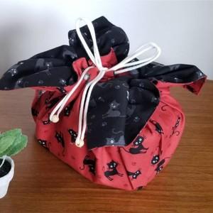 Lサイズ お弁当袋になっちゃう!!ランチクロス☆黒猫レッド(50cm×50cm)