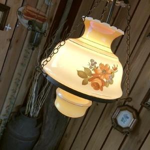 ≫USAアンティーク*古いラスターミルクグラスシェードランプ*フラワーペンダントライト天井照明*アメリカンヴィンテージビンテージ電笠錆