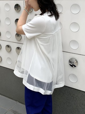 layered tulle tee / white (即納)