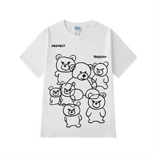 メンズ半袖Tシャツ。ユニセックスOkかわいい熊プリントブラック/ホワイト2カラー
