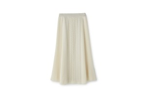 CABLE MOTIF FLAIR SKIRT - [WHITE]