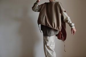 2way プルオーバー / ワイドスクエアー ハーフスリーブ/ サンクロス ウール 【 玉虫色 】ボートネック サイドスリット バルーン  /  wide square half sleeve pullover / wool sun cloth【 iridescent 】boat neck side slit balloon
