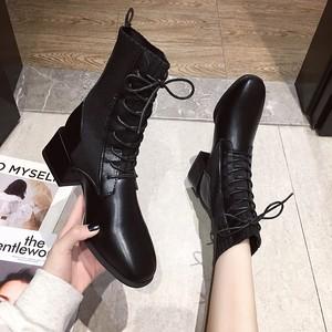 【シューズ】韓国系スクエアトゥ人気合わせやすいPUミドルヒールショート丈ブーツ32913440