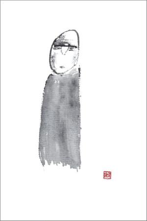 葉書「風羅」筆:狐の牡丹