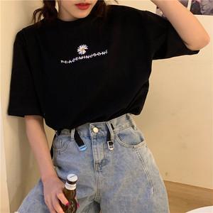 【トップス】新作韓国風カップル刺繡半袖Tシャツ