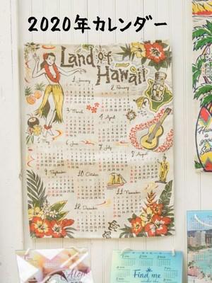 【送料無料】2020壁掛けジュートカレンダー レトロハワイ