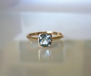天然アクアマリンのK10の指輪