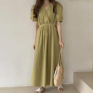 【ワンピース】ファッションハイウエストパフスリーブワンピース47894300