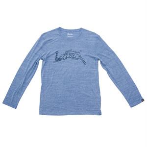 プリントロングスリーブTシャツ:ヘザーブルー