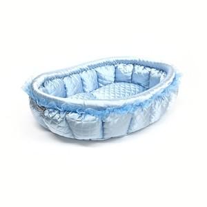 ふーじこちゃんママ手作り ぽんぽんベッド(サテンライトブルー)Mサイズ 【CBPB02-0083M】