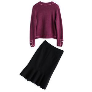 ピンクカーディガン&マーメイドスカート