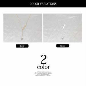 【ネック】全2色 1粒ラインストーン付きラリアットチェーンネックレスチョーカー