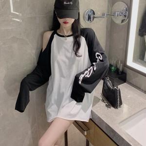 【トップス】カジュアルアルファベットプリントシンプル長袖流行り透かし彫りTシャツ33459021