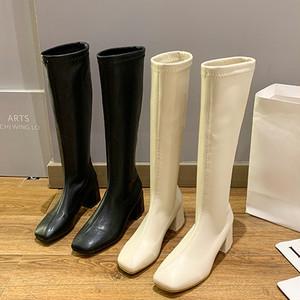 【シューズ】ファッションブロックヒールジッパー防水スクエアトゥロング丈ブーツ38895648