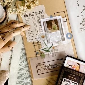 P04 BOX入 ステッカー 全6種 レトロ ヴィンテージ調 シール 素材 童話 海外 素材 コラージュ ジャンクジャーナル