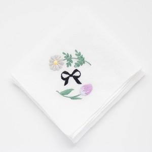 『花とリボンのハンカチ -黄色と紫- 』刺繍キット