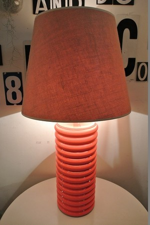 Orange ceramic shaded Lamp