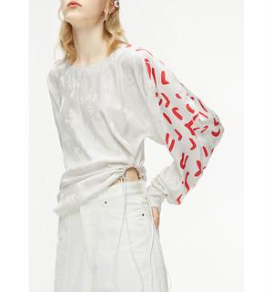 MO&CO×AALTOコラボ袖プリントジャカードプルオーバーオフホワイト