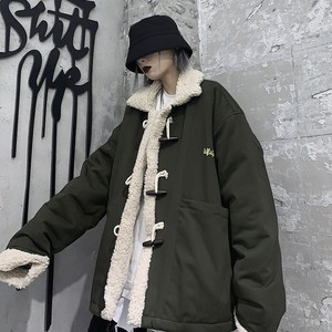 秋冬 ゴスロリ ボア ジャケット ゴシック クール ストリート系 ユニセックス 病み可愛い 黒 アーミーグリーン