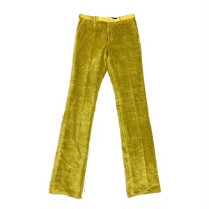 JOHNLAWRENCE SULLIVAN VELOUR STRIGHT TROUSERS YELLOW