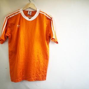 adidas '80 Orange  stripe sports shirts Made in U.S.A.  アメリカ古着