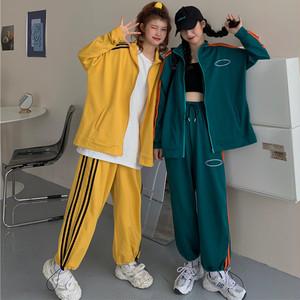 【セット】カジュアル長袖POLOネックジッパージャケット+パンツ32440648