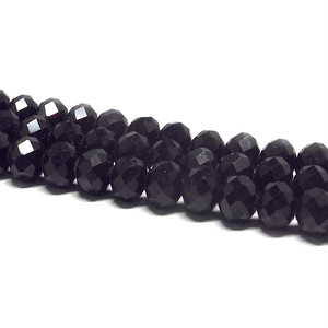 クリスタルガラス ビーズ ボタンカット ブラック 連売り約8×6mm