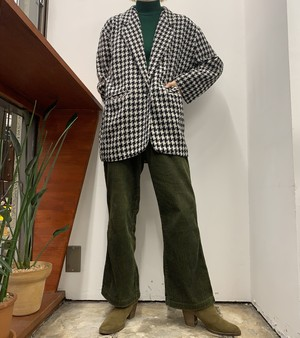 1990s MADE IN CANADA PRIMA DONNA houndstooth pattern wool mix tailored jacket 【S】