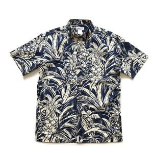 Mountain Men's ボタンダウンアロハシャツ / Pineapple wood cut / Navy