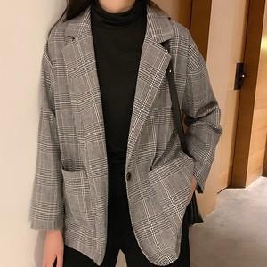 【アウター】シンプル無地折り襟長袖ジャケット24131528