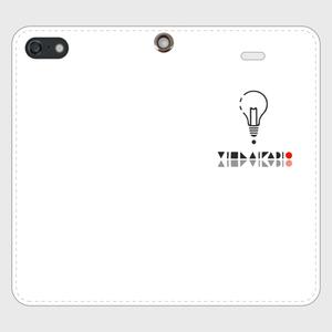 【SE】ロゴ(文字入り)iPhoneケース手帳型白