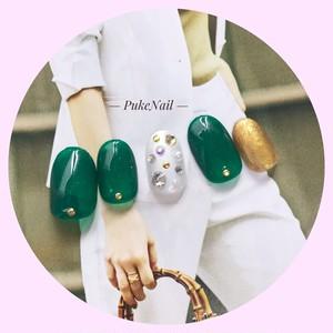Pukeネイル [No.159] グリーン・オシャレ❁ /仕事 /出かけ/パーティー・可愛い色♡ジェイルネイルチップ