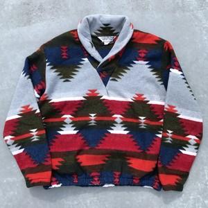 90's LITTLE BIG HORN SHIRT CO ショールカラーフリースジャケット ネイティブ柄 チマヨ Lサイズ USA製 希少 ヴィンテージ