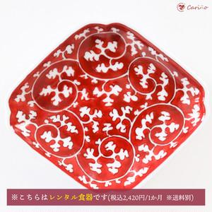 源右衛門窯 赤絵唐草濃 小皿(菱型)(1300003)