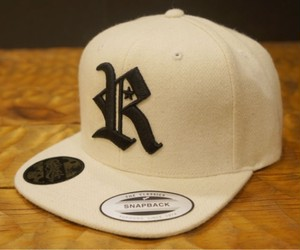 RAKUGAKI Melton Wool R logo Snap Back Cap Natural×Black