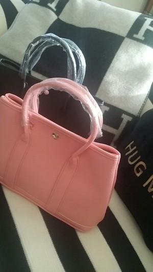ガーデンパーティー風お出掛けバッグ☆差し色のピンクね